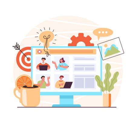 Video conference online teamwork chat. Internet web communication education concept. Vector flat graphic design modern style illustration