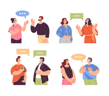 People man woman characters talking together. Teamwork communication concept. Vector flat graphic design modern style illustration