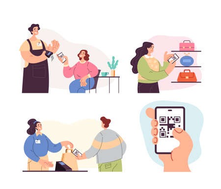 People man woman characters using phone to scan qr code and read information and pay. Online wireless payment system concept. Vector flat graphic design modern style illustration