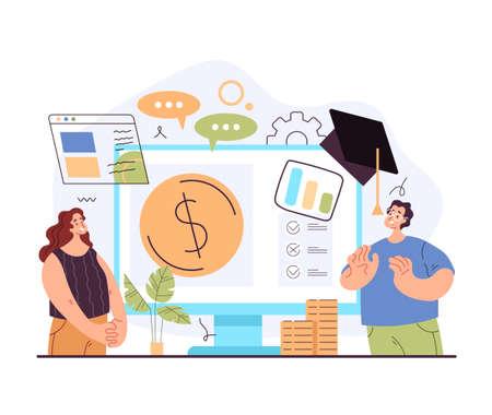 Financial economic business literacy education tutorial training consultation concept. Vector flat graphic design modern style illustration 向量圖像
