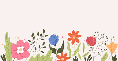 Simple hand drawn floral field flowers frame background concept. Vector flat graphic design modern style illustration