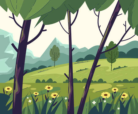 Green empty tree field mountain forest nature concept. Vector flat graphic design modern style illustration