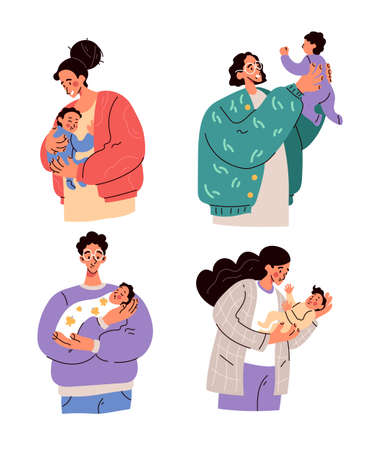 Happy parents mothers and fathers holding newborn babies on hands. Parenthood motherhood fatherhood concept