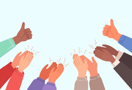 Human hands clapping banner with text place concept.