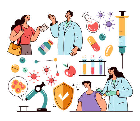 Doctor character making injection to patient. Vaccination and laboratory researching stop epidemic pandemic isolated set. Vector flat modern style design illustration 向量圖像