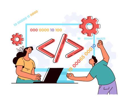 Programming language coding php developer software javascript concept. Vector flat modern style design illustration 向量圖像