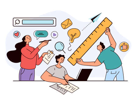 People woman man characters colleague development new project. Office teamwork coworkers presentation concept. Vector flat modern style design illustration