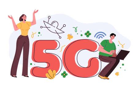 Wireless high speed internet 5G telecommunication concept. Vector flat graphic design illustration