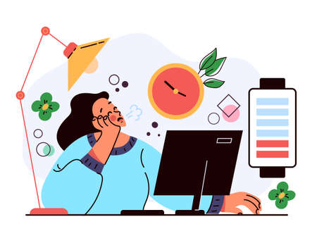 Professional burnout long working day. Hard working low battery energy charge concept. Vector flat graphic design illustration