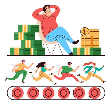 Office job work boss money slavery concept. Vector flat cartoon graphic illustration