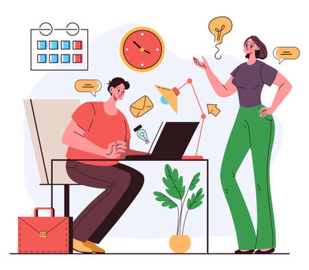 Office workers man woman colleague characters working together and discussing new project and good idea. Teamwork business plan concept. Vector flat cartoon graphic illustration 向量圖像