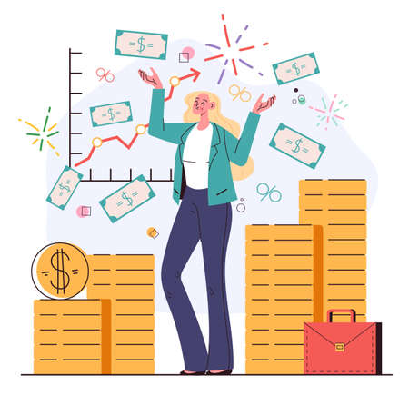 Happy business woman character financial consultant standing under money coins rain. Successful investor, entrepreneur, mentor, coach. Financial consulting concept. Vector flat cartoon graphic illustr