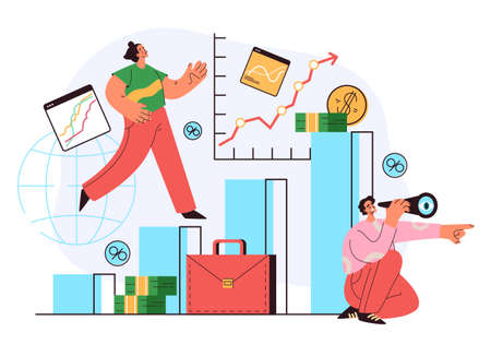 Economy business people team characters working. Looking future, stock market, financial analysis, money profit, trading concept. Vector flat cartoon graphic illustration 向量圖像