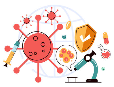 Epidemiology laboratory researching vaccination concept. Vector flat cartoon graphic illustration
