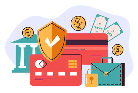 Money banking credit card security protecting concept. Vector flat cartoon graphic illustration