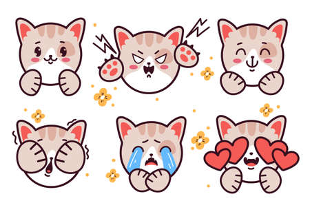 Set of emoticons cute kitty cat emoji stickers isolated on white background. Vector flat cartoon graphic illustration