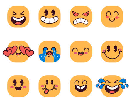 Cartoon emoticons face emoji with different emotions isolated on white background. Vector flat cartoon graphic illustration 向量圖像