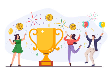 Business people characters team success achievement with golden cup concept. Vector flat cartoon graphic illustration