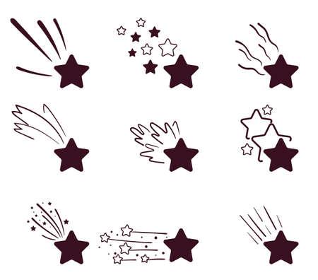 Decorative cosmos meteorite isolated on white background stars set. Vector flat cartoon graphic illustration