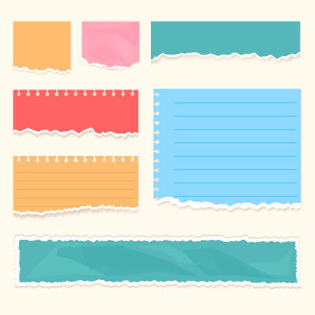 Realistic colorful ripped paper scraps strips with torn edges isolated set.  Vector flat cartoon graphic illustration
