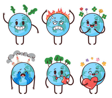 Planet earth mascot character having different emotions, love, happy, angry, cry. Happy Earth day stickers isolated set. Vector flat cartoon graphic illustration