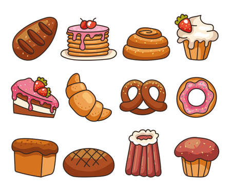 Isolated on white background set of bakery food flat line modern style. Vector flat graphic design illustration