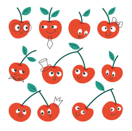 Cherry with faces and different emotions isolated on white background set. Vector flat graphic design illustration