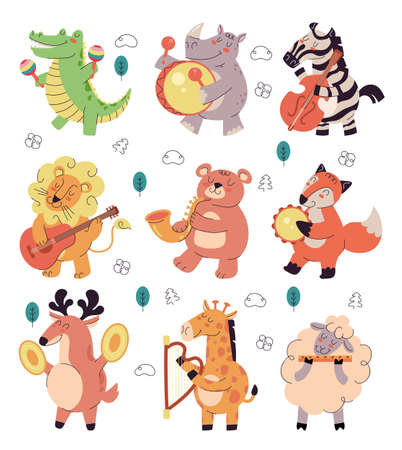 Happy smiling animals characters play music on different musician instrument isolated set. Vector flat graphic design illustration 向量圖像