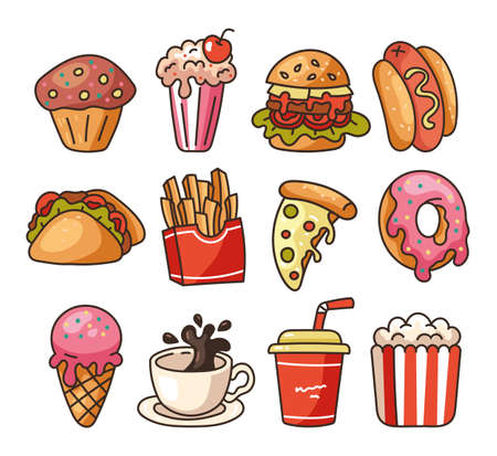 Isolated on white background set of junk fast food flat line modern style. Vector flat graphic design illustration 向量圖像