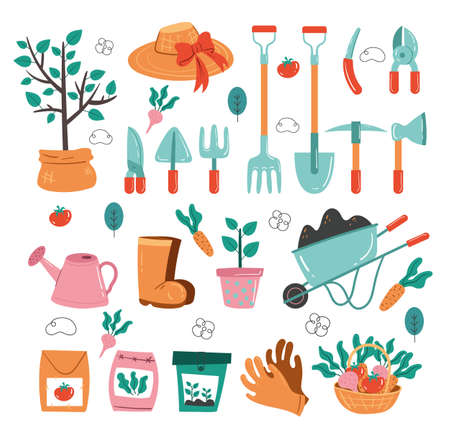 Gardening tools isolated on white background set collection. Vector flat graphic design illustration