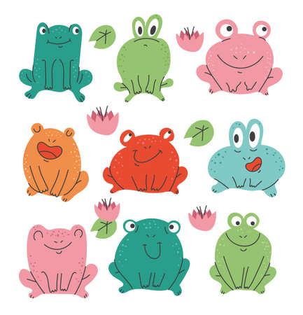 Isolated on white background set of simple flat modern style frogs. Vector flat graphic design illustration