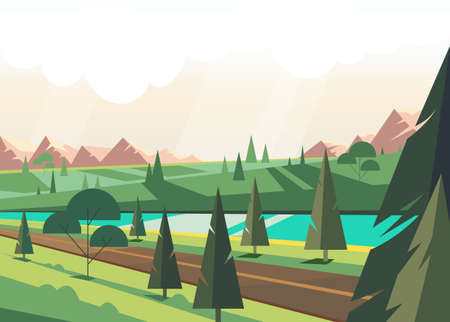 Green summer nature with pine tree and blue river. Vector flat graphic design illustration 向量圖像