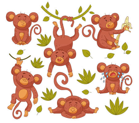 Baby monkey child character mascot in different position isolated set. Vector flat graphic design illustration