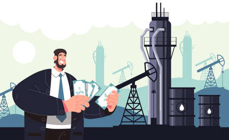 Rich man character count money. Oil industry production concept. Vector flat modern style graphic illustration 向量圖像