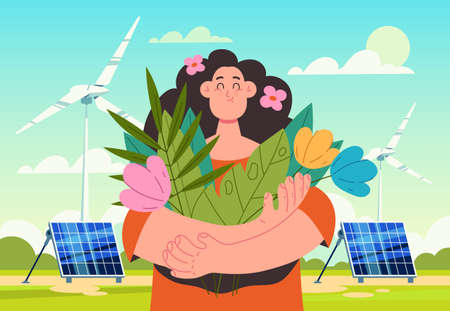 Woman character holding flowers and breathing fresh air. Wind station and solar battery concept. Vector flat modern style graphic illustration