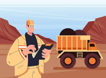 Coal mining engineer man character inspecting work process concept. Vector flat modern style graphic illustration 向量圖像