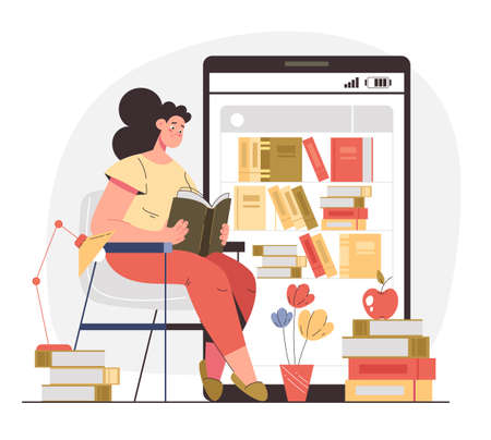Woman girl student character reading book online. Internet web education concept. Vector flat modern style graphic illustration