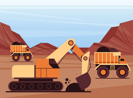 Coal mining coal manufacture industry production concept. Vector flat modern style graphic illustration