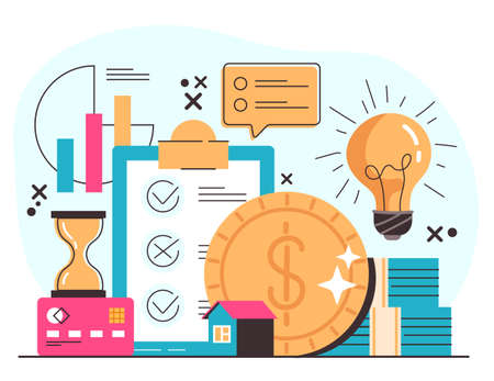 Investment money business success profit increase concept. Vector flat modern style graphic illustration