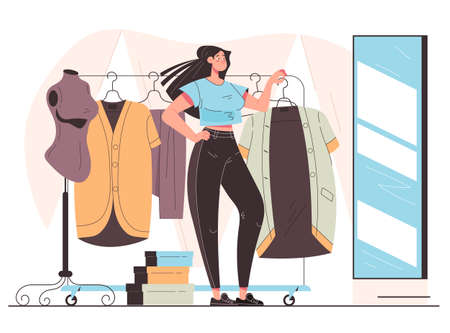 Woman consumer character trying cloth dress and looking mirror. Vector flat modern style graphic illustration