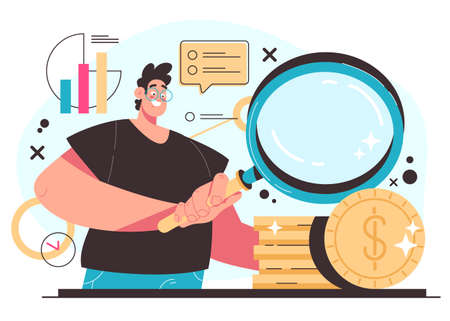 Business search money for investment to business new project start up concept. Vector flat modern style graphic illustration 向量圖像