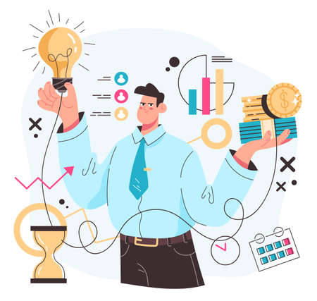 Investment money income increase business success concept. Vector flat modern style graphic illustration 向量圖像
