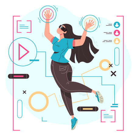 Woman in virtual reality glasses making 3D vision concept. Vector flat modern style graphic illustration