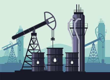 Oil industry production concept. Vector flat modern style graphic illustration