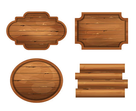Realistic wooden board isolated on white background set