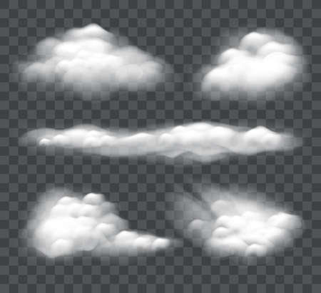Set of realistic cloud isolated on dark background