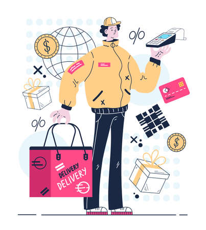 Courier standing with order package and contactless payment terminal. Delivery service concept. Vector flat graphic design illustration