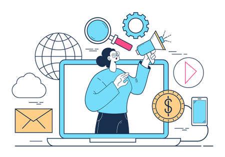 Loudspeaker promoter internet online marketing concept. Vector flat graphic design illustration