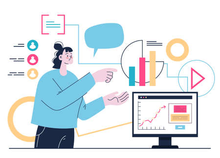 Social media marketing internet business income concept. Vector flat graphic design illustration