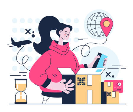 Woman consumer character unpacking parcel. Fast delivery service concept. Vector flat graphic design illustration 向量圖像